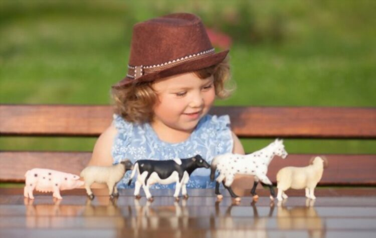 collection of farm animal toy set